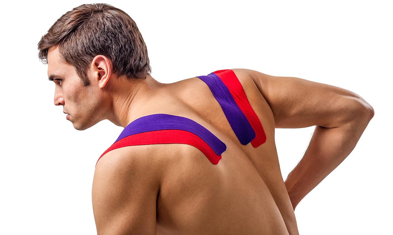 kinesiology tape athlete back shoulder
