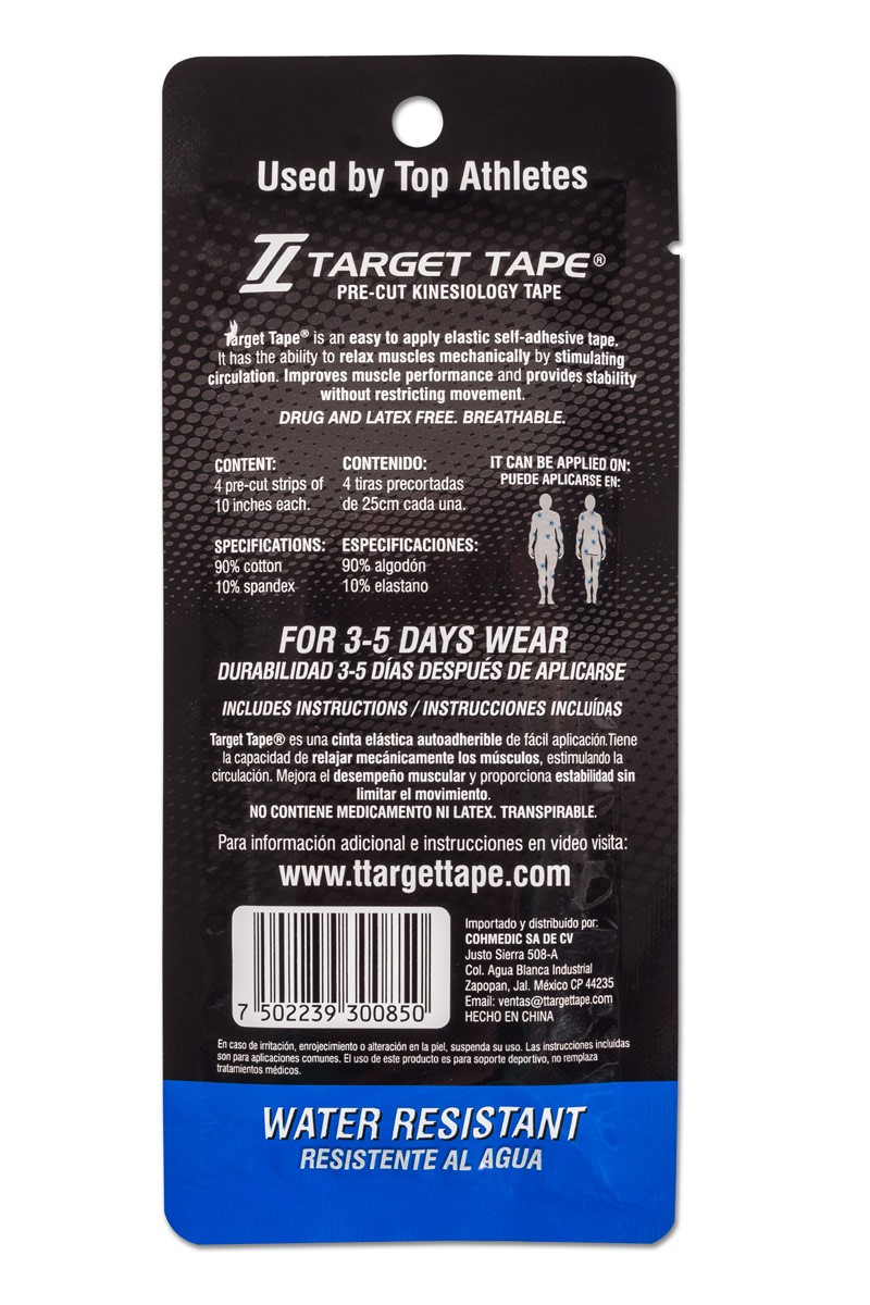 TT TARGET TAPE® precut blister pack back - Blue